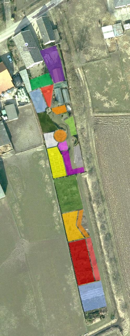 Plattegrond met kleuren per tuin